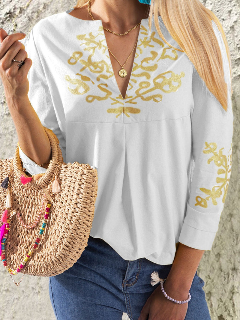 Plus Size V neck Casual Tribal Printed 3/4 Sleeve Blouse