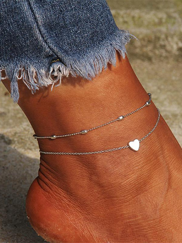 Fashion Double-layer Heart Shape Anklets