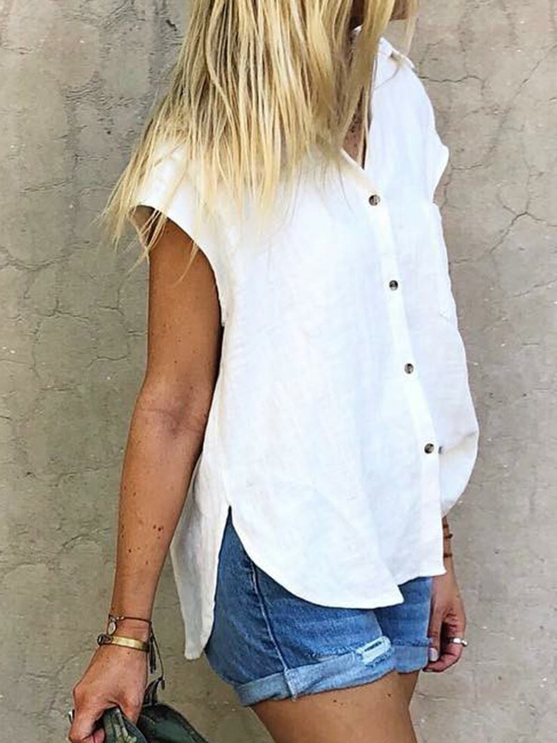 Summer Casual Linen Plain Blouse