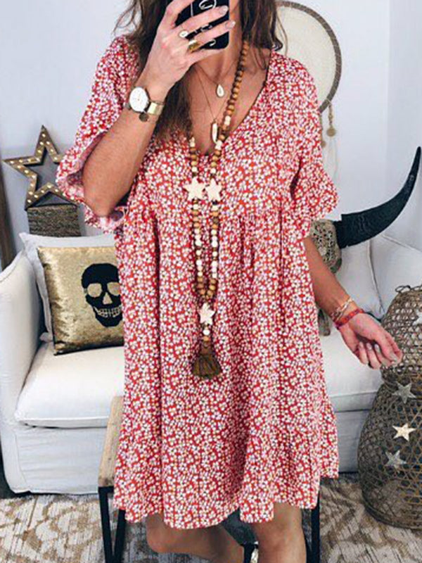 Women Summer Casual Boho Floral Cotton V Neck Mini Dress