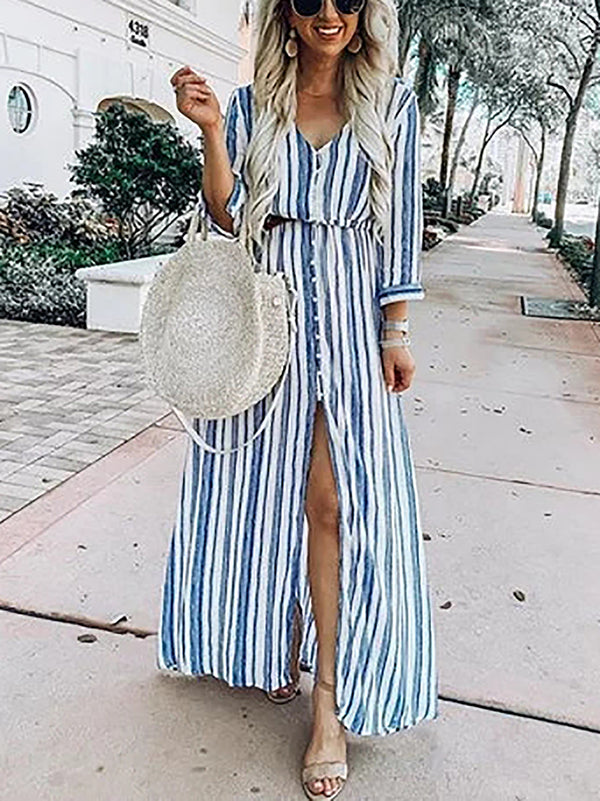 Women Shift Daytime Holiday Striped Maxi Dress
