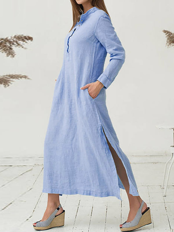 Plain Cotton Casual Dress