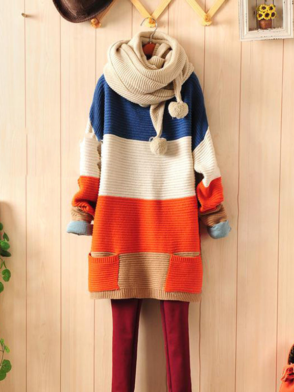 Color-Block Long Sleeve Knitwear