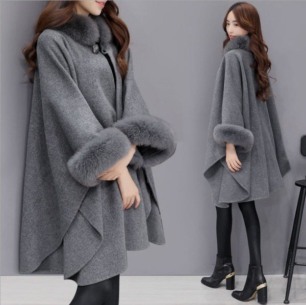Long Sleeve Fur Shearling Casual Paneled Solid Poncho