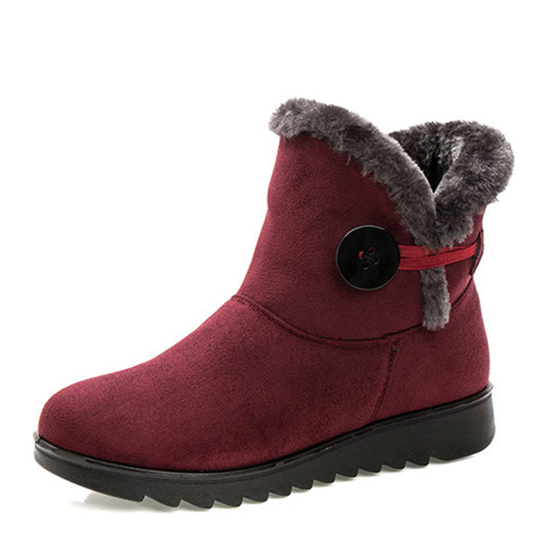 Round Toe Ankle Women Buttoned Snow Boots