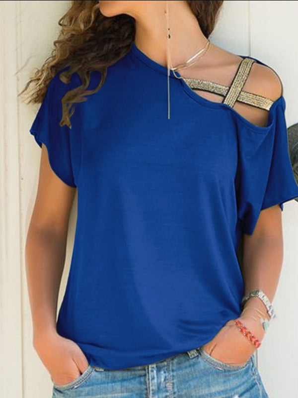 Solid Short Sleeve Cotton One Shoulder T-Shirt