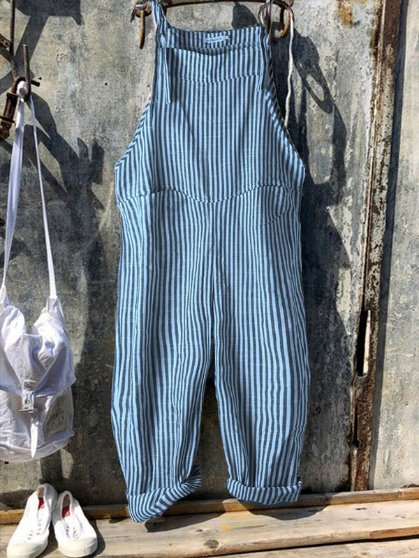 Vintage Black Gray Linen Stripes Pants Romper Jumpsuits