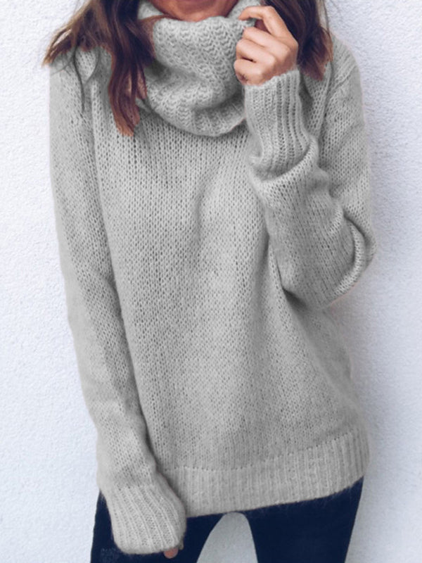 Long Sleeve Turtle Neck Cotton-Blend Paneled Knitwear