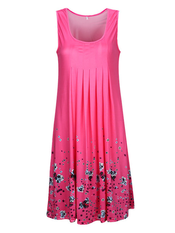 Plus Size Daily Crew Neck Shift Floral Printed Casual Sleeveless Dress