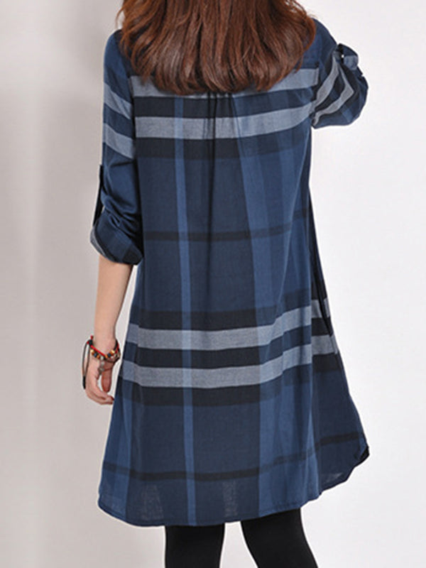 Plus Size Shirt Collar Checkered Printed Long Sleeve Casual Dress