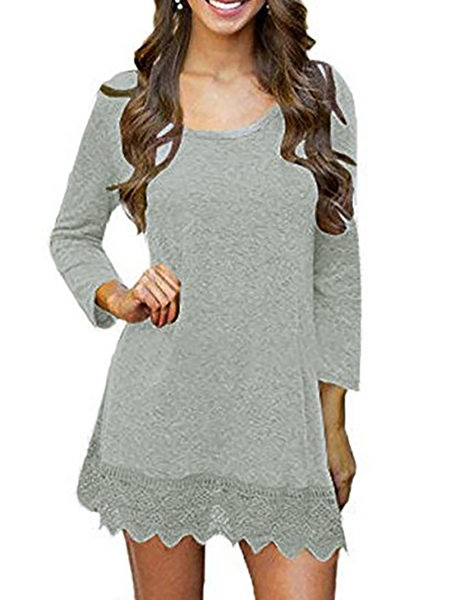 Long Sleeve Solid Shift Dress