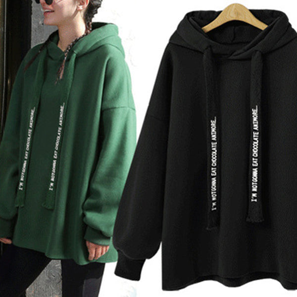 Plus Size Long Sleeve Casual Solid Hoodie