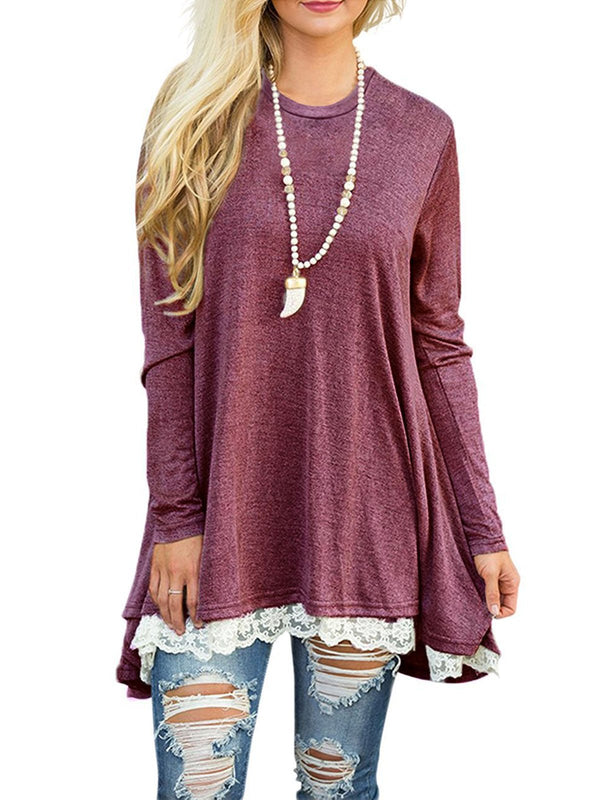 Casual Lace Paneled Long Sleeve T-Shirt