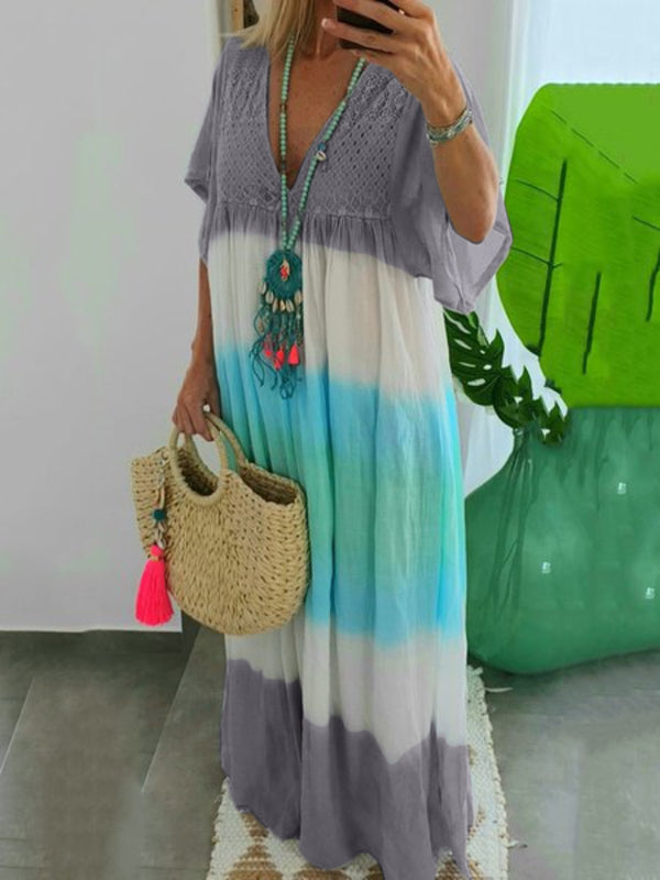 Plus Size Color-block Beach Women Summer Maxi Dresses