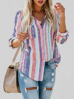 Multicolor Striped Casual Shirt Collar Tops
