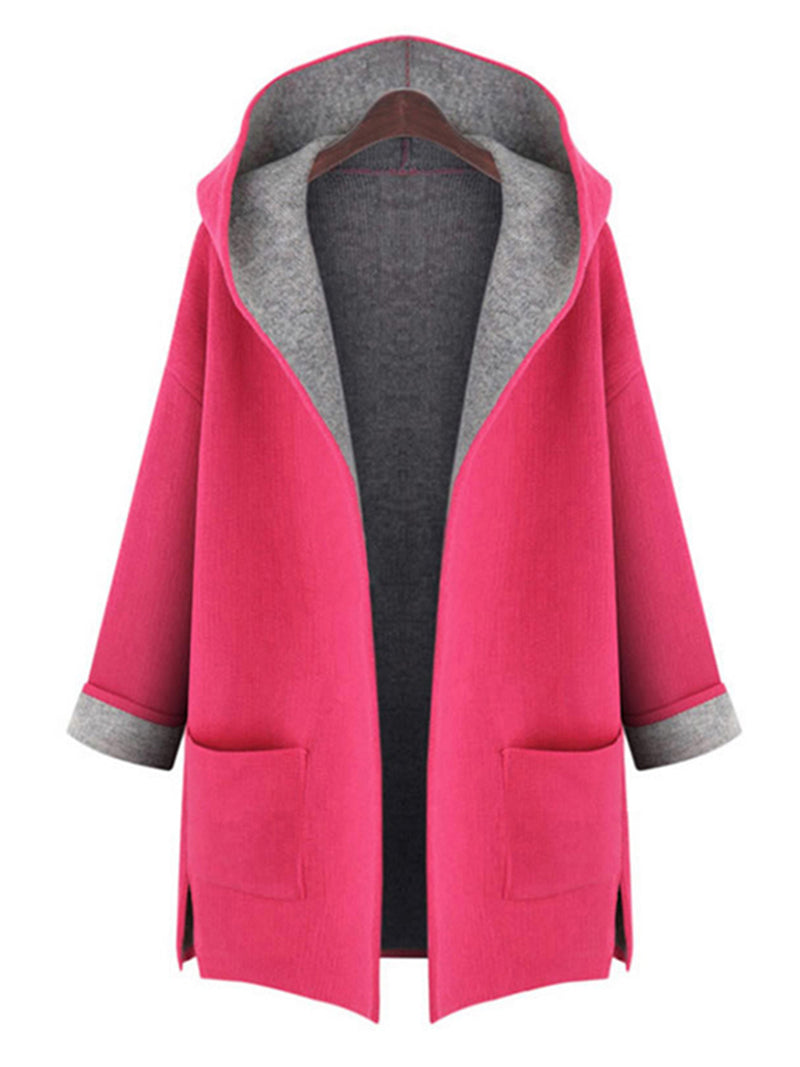 Casual Plus Size Pockets H-line 3/4 Sleeve Hoddie Coat