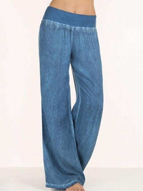 Plus Size Solid Basic Paneled High-rise Pants