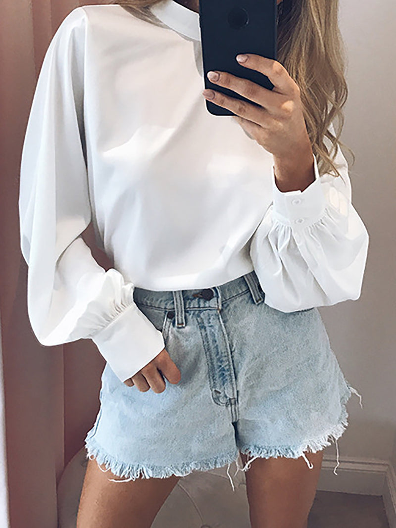 Blue Balloon Sleeve Chiffon Turtle Neck Solid Casual Blouse