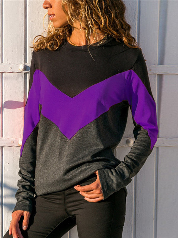 Crew Neck Long Sleeve Solid Cotton Tops