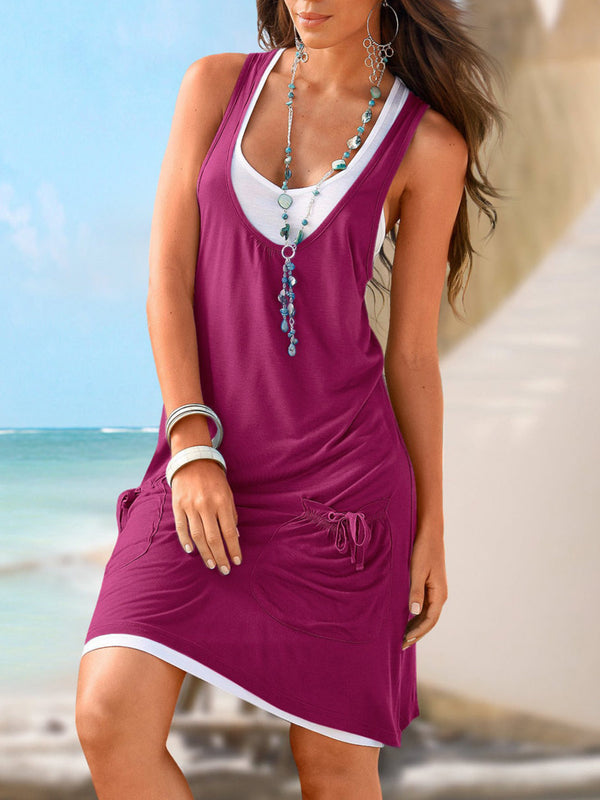 Plus Size Sheath Solid Sleeveless Daily Casual Pockets Holiday Mini Dress