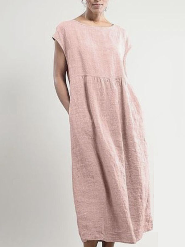 Women Summer Maxi Dress Plus Size Cotton Linen Dresses