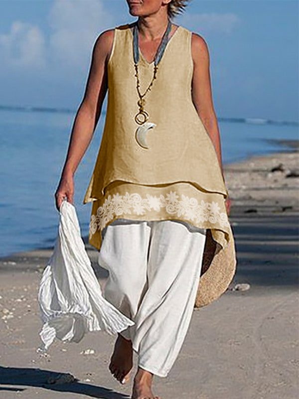 Asymmetrical Sleeveless Linen Shirts