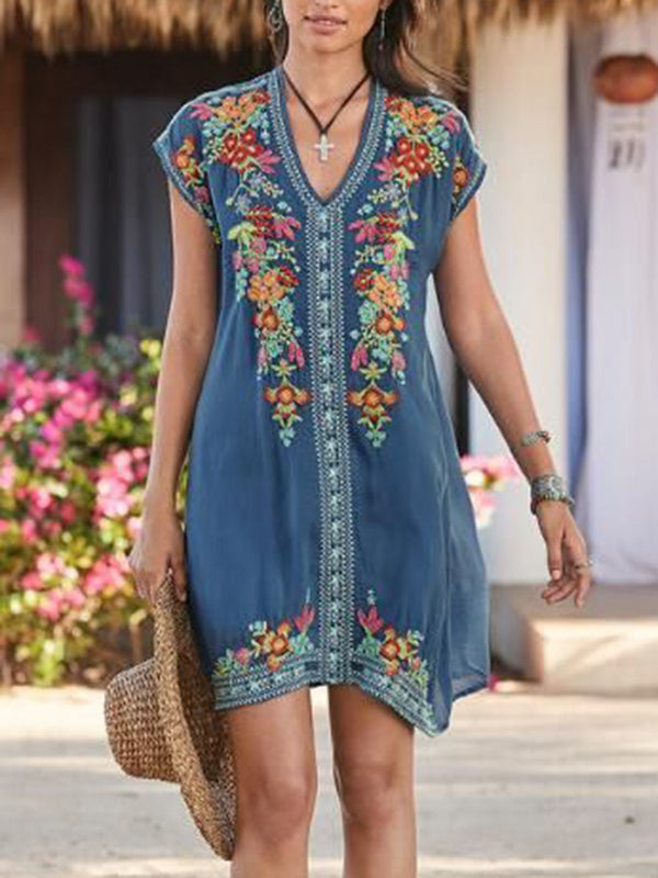 Women Summer  Boho Dresses Short Sleeve Embroidered Shift Dresses
