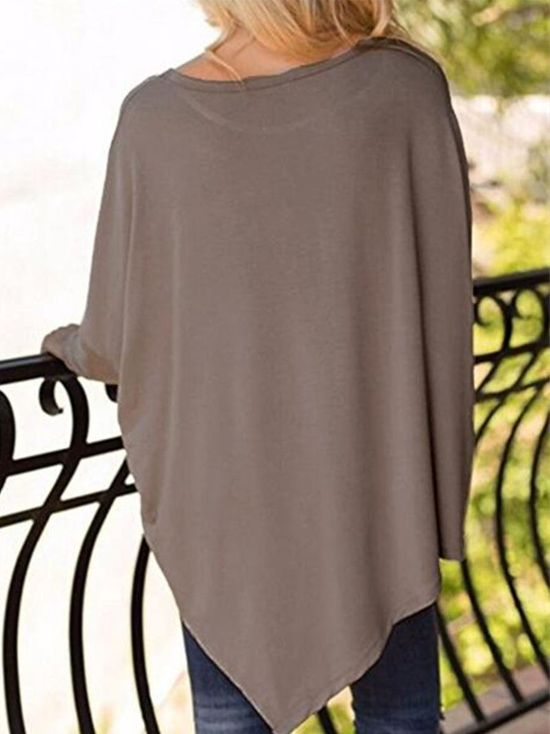 Asymmetric Casual Crew Batwing Neck Solid T-Shirt