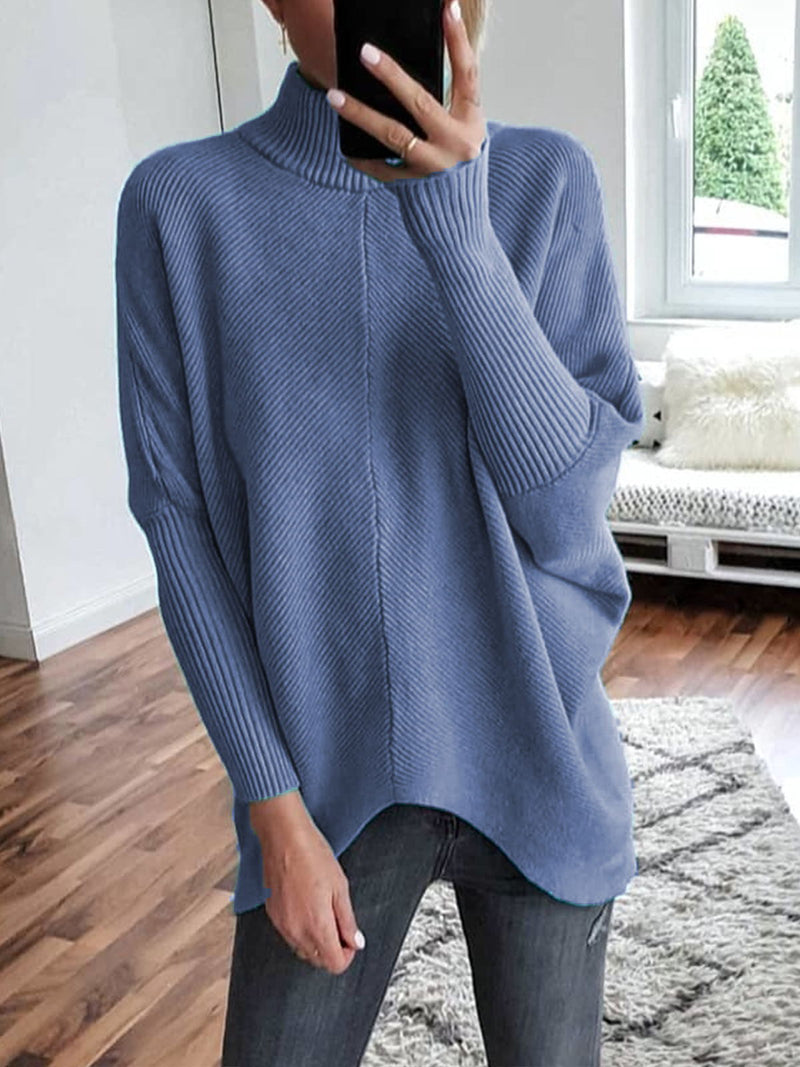 Plus Size Casual Knitted Solid Turtleneck Sweater