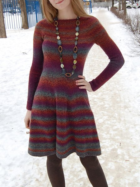 Knitted Crew Neck Long Sleeve Printed Dresses