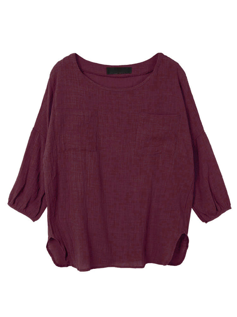 Pockets Casual Crew Neck Long Sleeve Tops