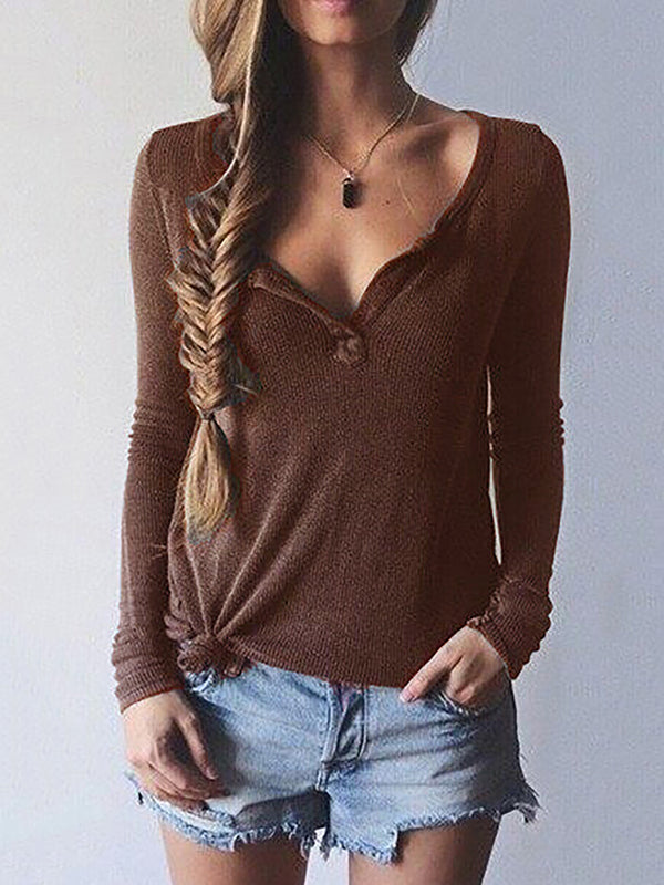 Woman Basic Daily Long Sleeve V Neck T-Shirt