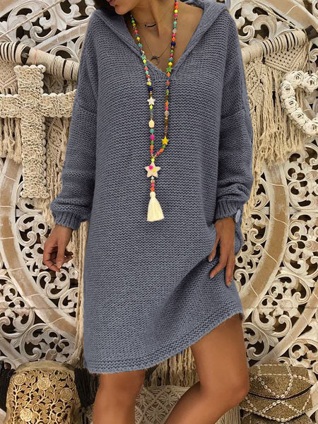 Long Sleeve Hoodie Knitted Casual Dress