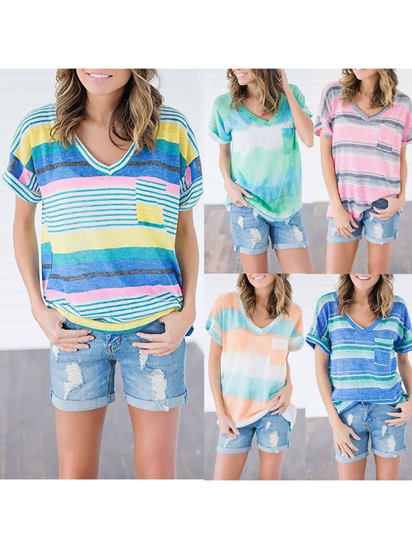 Stripes Short Sleeve V neck T-Shirt