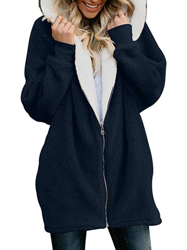 Long Sleeve Hoodie Zipper Solid Coat