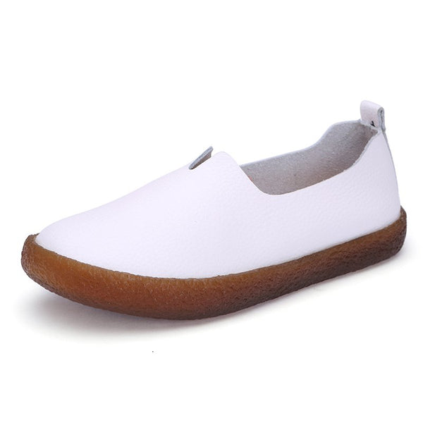 Large Size Soft Leather Vintage Flat Loafers For Women
