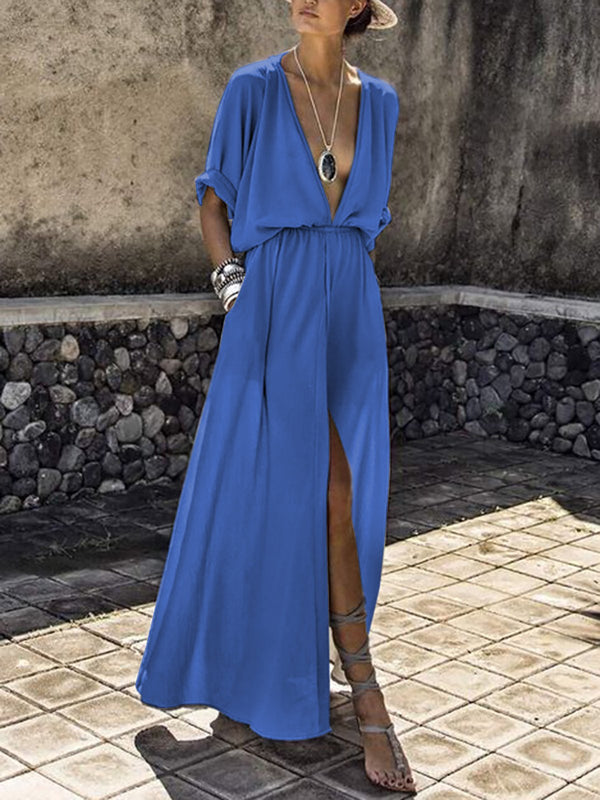 Plunging neck Short Sleeve Solid Slit  Elegant Slit Swing Dress