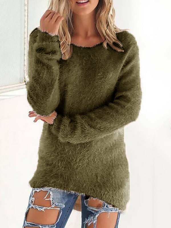 Plus Size Long Sleeve Knitted Crew Neck Casual Sweater