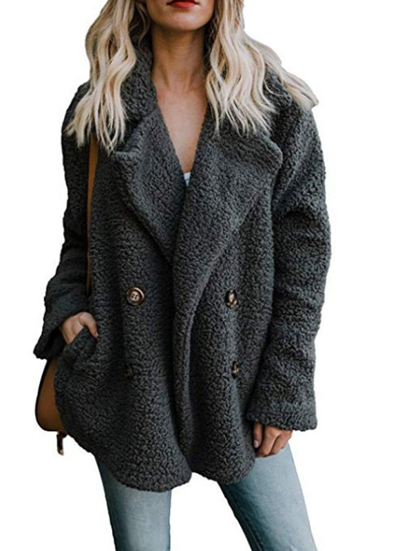 Long Sleeve Shawl Collar Buttoned Casual Quilted Coat