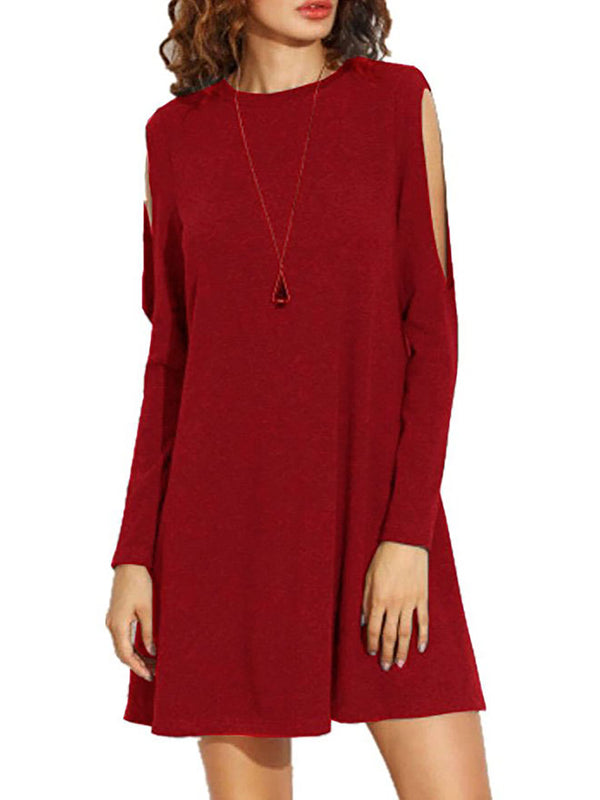 Casual Cotton Cold Shoulder Pockets Fall Dress