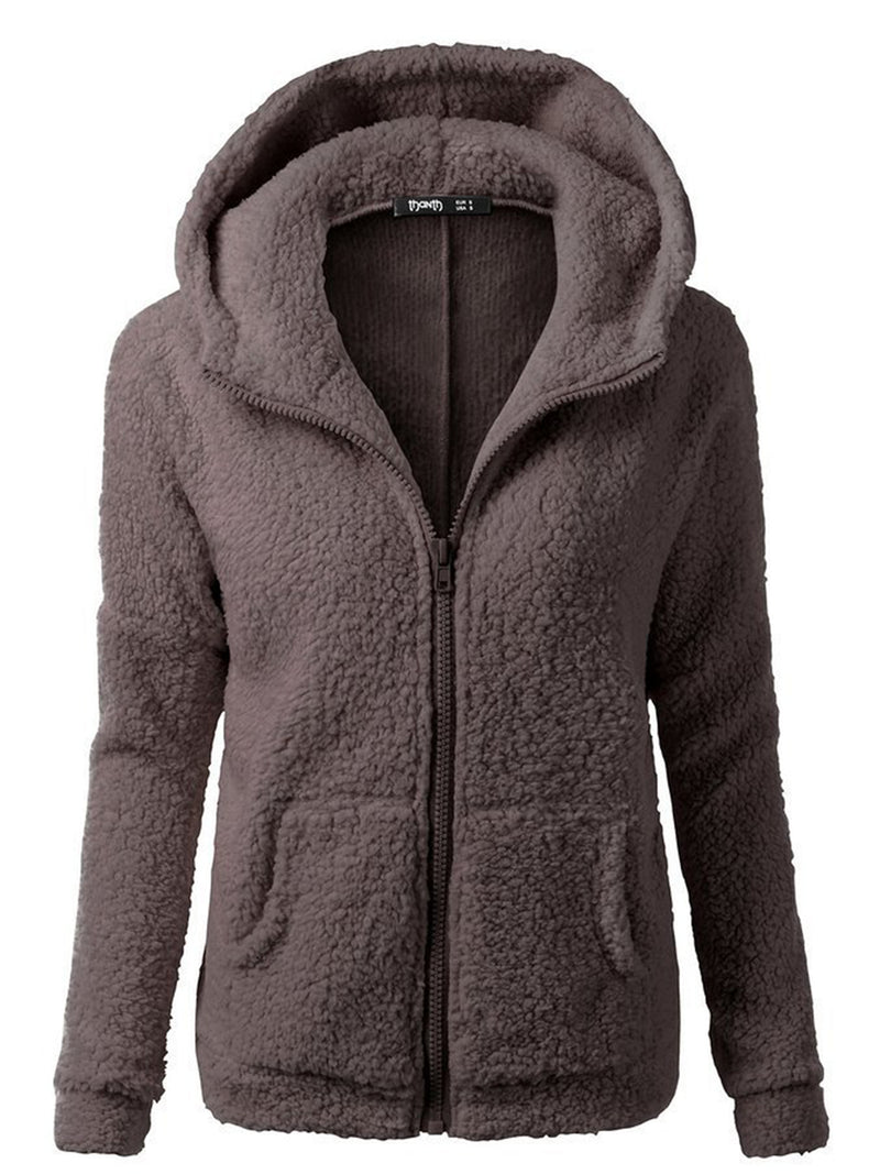 Pockets Casual Cotton-blend Hoodie Coat