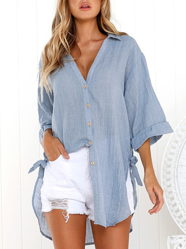 Blue 3/4 Sleeve Shirt Collar Tops