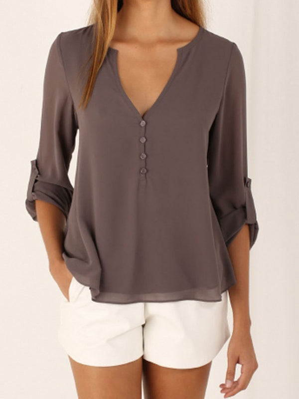 V-Neck 3/4 Sleeve Buttoned Casual Solid Chiffon Plus Size Blouse