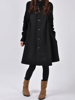 Buttoned Plus Size Turtle Neck Knitted Paneled Casual Coat