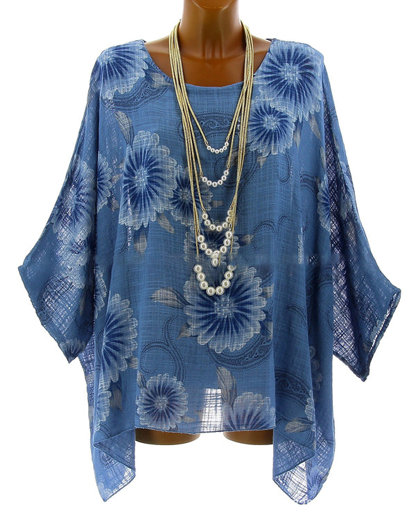 Plus Size Batwing Casual Floral Printed Asymmetric Blouse