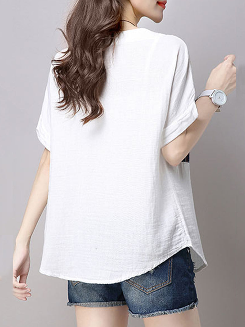 White Crew Neck Casual Tops