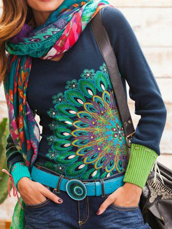 Long Sleeve Casual Printed  Shirts & Tops