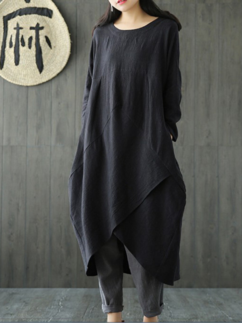 Plus Size Folds Crew Neck Solid Casual Long Sleeve Dress