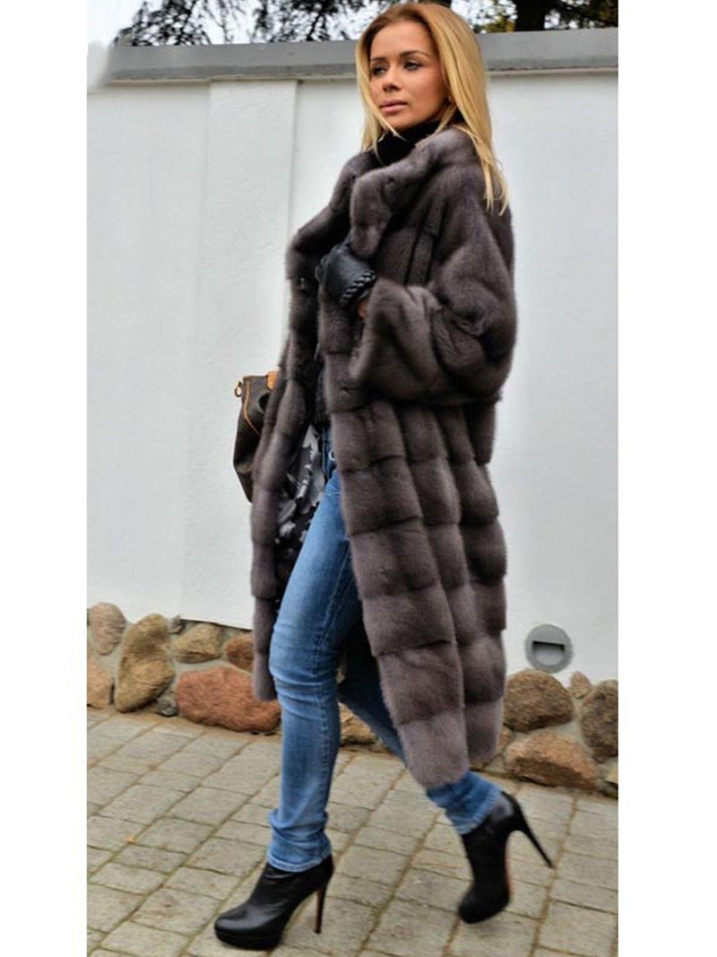 Stand Collar Long Sleeve Casual Fluffy Coat