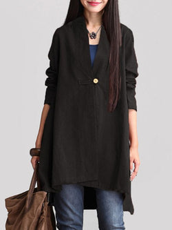 Casual Long Sleeve Shift Cotton Blouse